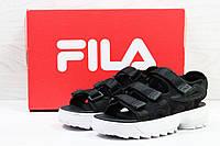 Копия Женские спортивные босоножки Fila код 5301 черно белые, фото 1