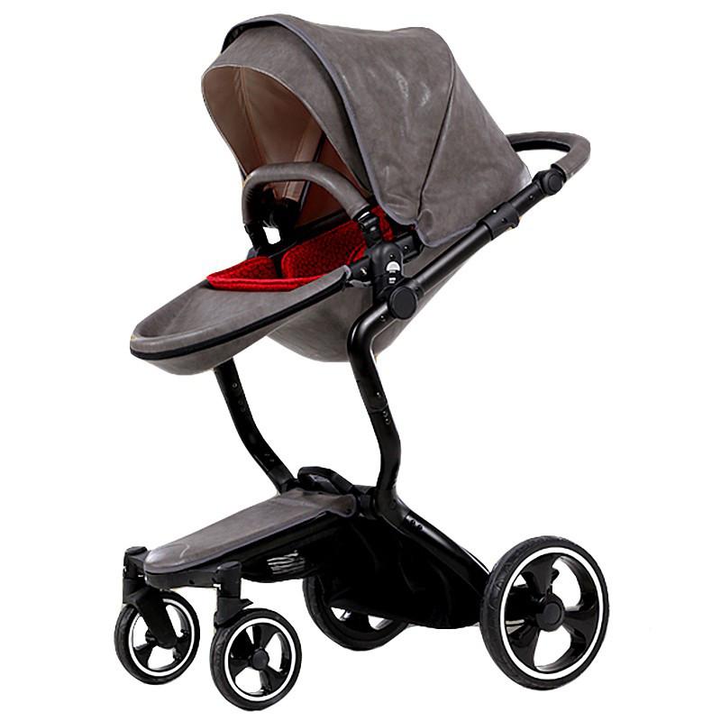 Детская коляска Foofoo Vinng  2в1 Серая экокожа
