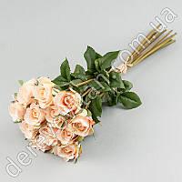 Букет искусственных роз, розово-персиковый, 12 шт, 43 см