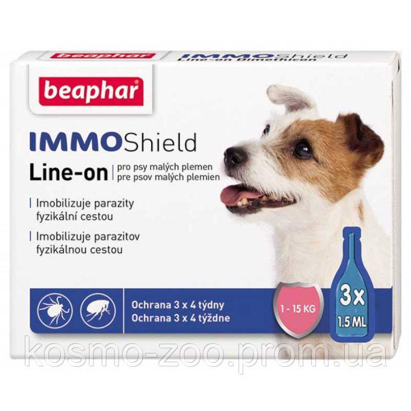 Капли против блох и клещей Beaphar IMMO Shield, для собак весом 1 - 15 кг (3 пипетки)