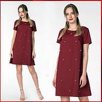 Летнее платье с коротким рукавом  Эcтэль, бордовый, фото 1