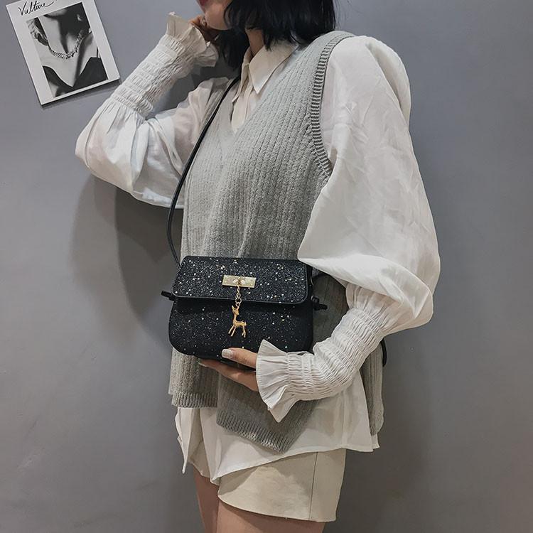 3c5a122ccce0 ... Мини сумочка Melani с оленем, легкая блестящая черного цвета , фото 3  ...