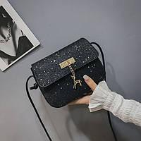 Мини сумочка Melani с оленем, легкая блестящая черного цвета , фото 1