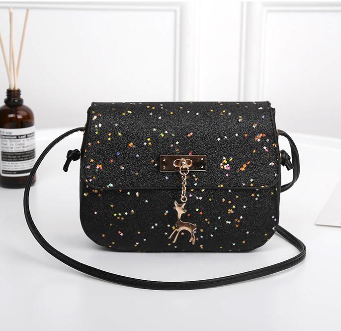 390a9b89a9c8 ... Мини сумочка Melani с оленем, легкая блестящая черного цвета , фото 5  ...
