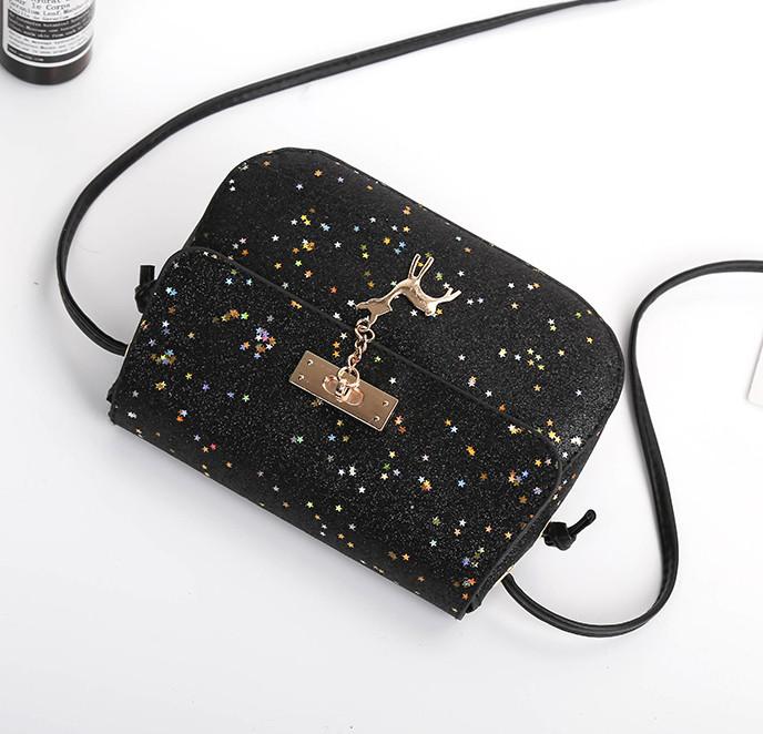 e5b1d8089321 ... Мини сумочка Melani с оленем, легкая блестящая черного цвета , фото 6  ...