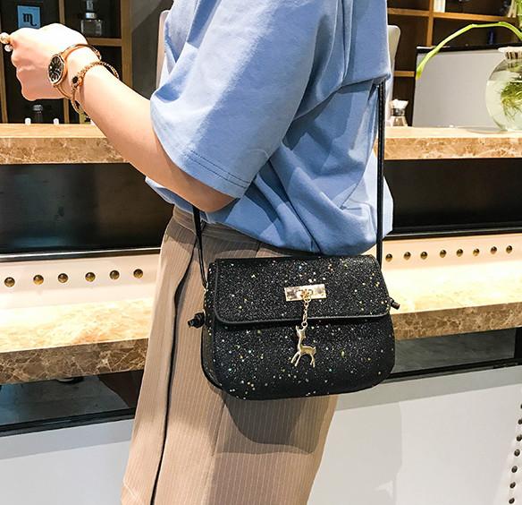 744aed848300 ... Мини сумочка Melani с оленем, легкая блестящая черного цвета , фото 7  ...