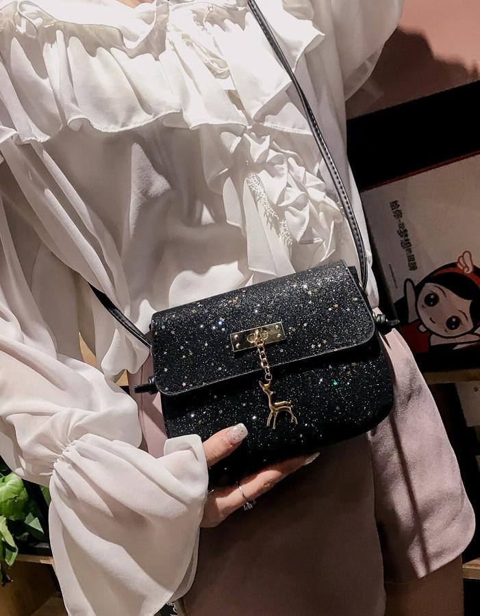 1f5018e3ce11 ... Мини сумочка Melani с оленем, легкая блестящая черного цвета , фото 8  ...