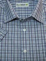 Мужская рубашка в синюю клетку с коротким рукавом в клетку