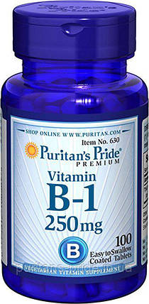 Тиамин, Витамин B-1, Puritan's Pride Vitamin B-1 250 mg 100 tablets, фото 2