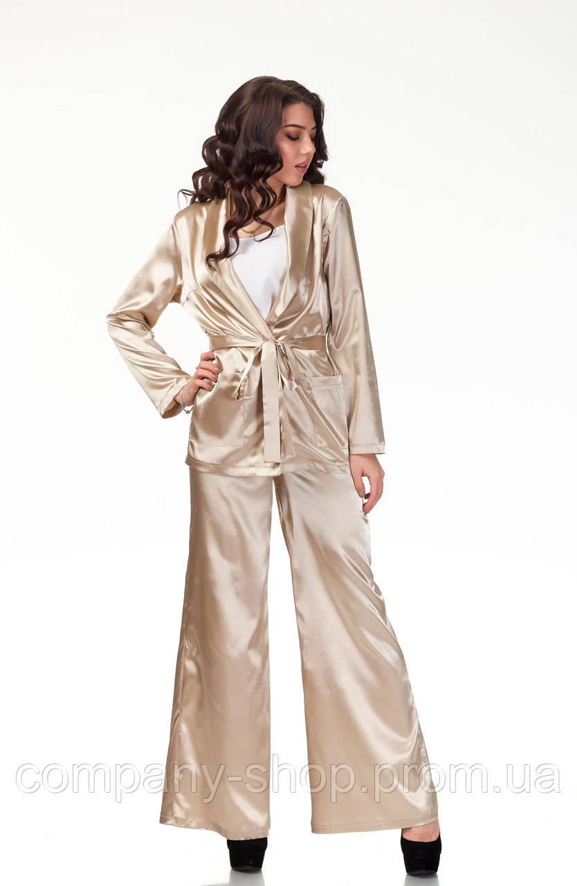 Пижамный шелковый костюм. Модель КС003_бежевый атлас