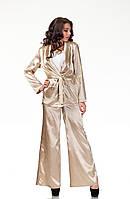 Пижамный шелковый костюм. Модель КС003_бежевый атлас, фото 1