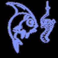 Виниловая наклейка - рыба и червь