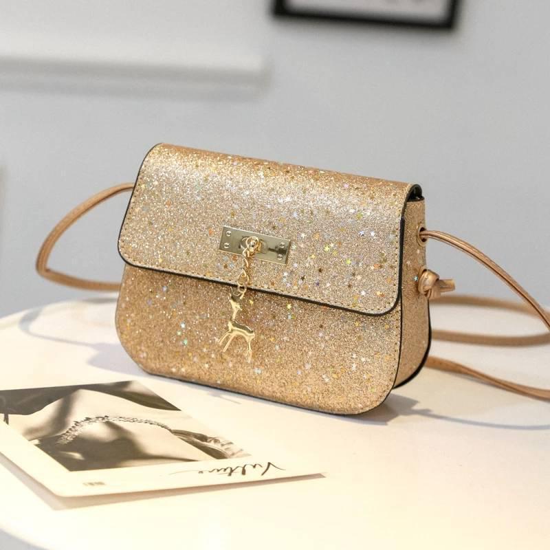 ab2b409dbbb4 Мини сумочка с оленем Melani легкая, блестящая золотистого цвета - Интернет  магазин Lisbag в Умани
