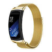 Миланский сетчатый ремешок для фитнес браслета Samsung Gear Fit 2 / Fit 2 Pro (SM-R360 / R365) - Gold