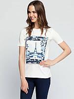 Белая женская футболка LC Waikiki / ЛС Вайкики с рисунком и надписью на груди Paris