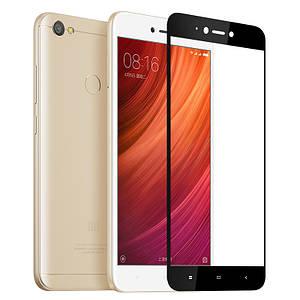 Захисне і загартоване скло GLASS для смартфона Xiaomi Redmi Note 5A з рамкою. Чорне
