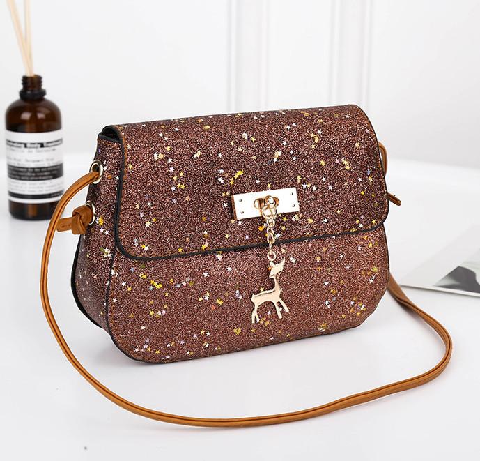 2b8c898e7290 ... Блестящая коричневая мини сумочка с оленем Melani через плечо, ...