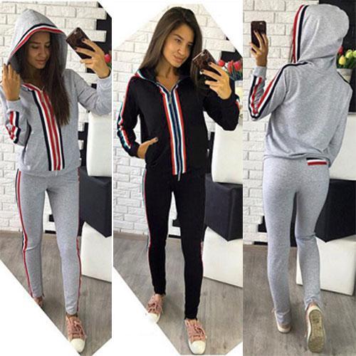 659bc79974ed Женский спортивный трикотажный костюм с лампасами и капюшоном серый черный  синий размеры 42 по 46
