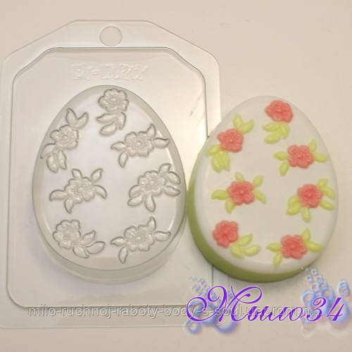Пластиковая форма Яйцо плоское/Мелкие цветочки