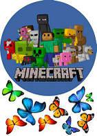 """Вафельная картинка для торта, конд. изделий """"MineCraft"""", круглая (лист А4)"""