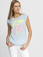 Голубая женская майка LC Waikiki / ЛС Вайкики с рисунком и надписью на груди Palm Spring, фото 1