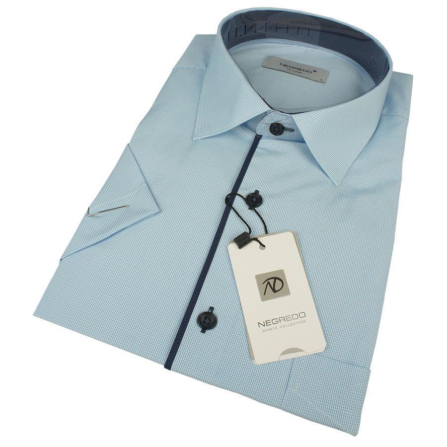 Мужская рубашка Negredo 0310 H Classic С размер L в светло-синих оттенках