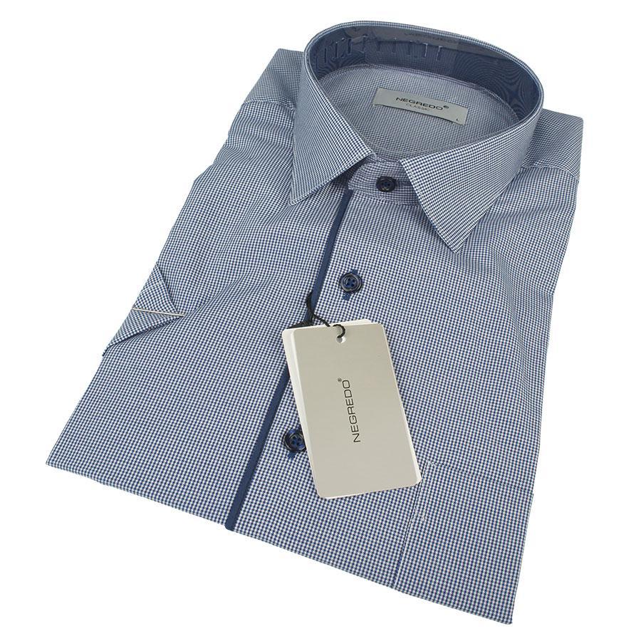 Комбинированная мужская рубашка Negredo 0310 H Classic С размер XXL в светло-синих оттенках
