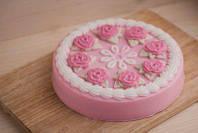 Пластиковая форма для мыла Торт с розами под нарезку