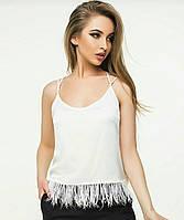 Хит сезона лето 2018, Модная маечки с натуральными перьями страуса S, M, L, XL, фото 1