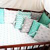Бортики-защита в детскую кроватку из гипоаллергенного хлопка