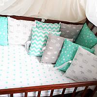 Бортики-защита в детскую кроватку из гипоаллергенного хлопка, фото 1