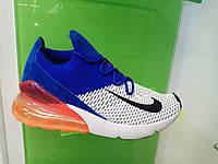 Мужские кроссовки Nike Air Max 270 Flyknit белый с синим , фото 1