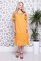 Женское платье свободного кроя Николь (56-64)горчица