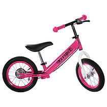Беговел PROFI KIDS M 3440AB-7 дитячий 12'' гумові колеса, металевий, тормоз, ексцентрики, рожевий Уцінка!