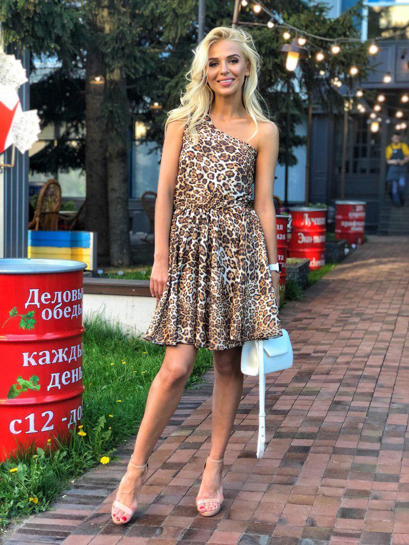 3f07b276891 Шифоновое платье с принтом леопарда  продажа