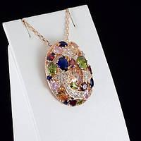 Роскошный кулон с кристаллами Swarovski + цепочка, покрытые золотом 0862