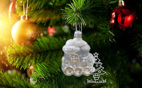 Стеклянная елочная игрушка Паровозик прозрачный 99-Б, фото 2