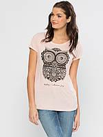 Розовая женская футболка LC Waikiki / ЛС Вайкики с совой на груди