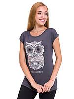 Серая женская футболка LC Waikiki / ЛС Вайкики с совой на груди