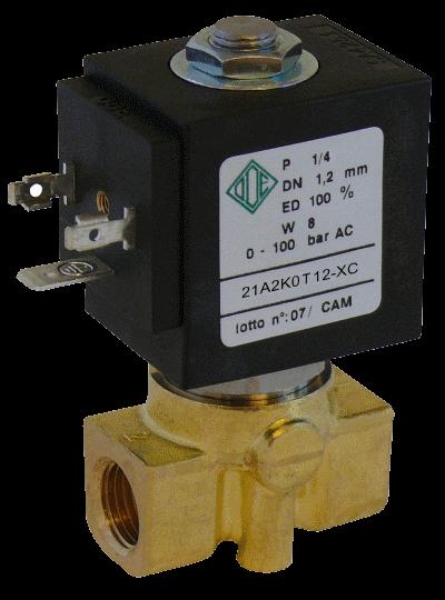 Электромагнитный клапан высокого давления до 100 bar, 21A2K0T12-XC (ODE, Italy), G 1/4, Купить в Киеве