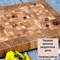 Кухонная торцевая разделочная доска в рамке из дуба, внутри разные породы дерева, фото 1