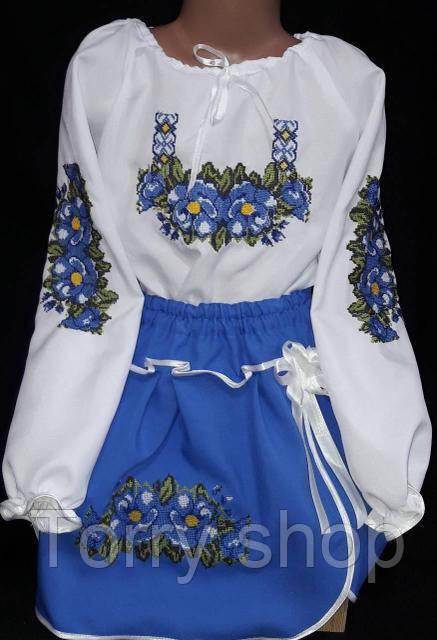 Вышитый детский костюм для девочки синего цвета, 2-12 лет