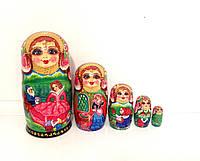 """Подарок для детей Матрешка большая 18 см расписная, сказка """"Белоснежка и 7 гномов"""", 5 мест"""
