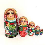 """Подарки смешные для детей Матрешка ручной росписи красивая, 18 см, сказка """"Красная шапочка"""" сувенирная 5 мест"""