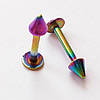 Для пирсинга губы лабретта 8 мм, толщина 1.2 мм, с конусом 3 мм. Сталь 316L, радужное анодирование