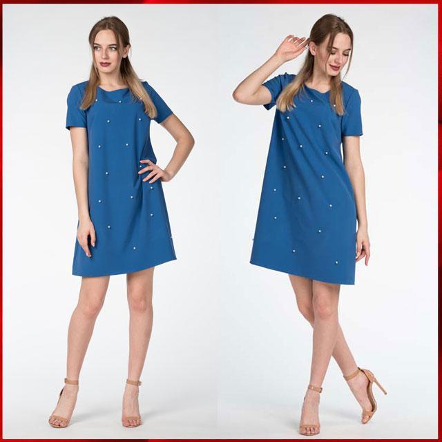 Купить Летнее платье-трапеция Эстэль, электрик S оптом и в розницу ... 02221f927e1