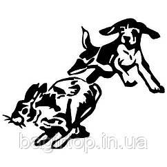 Виниловая наклейка - собака заяц