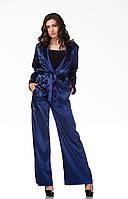 Пижамный шелковый костюм. Модель КС003_синий атлас, фото 1