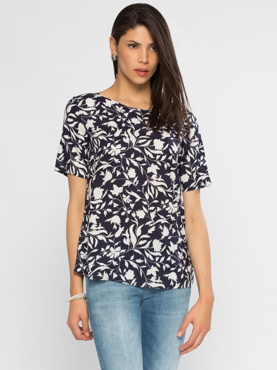 Синя блуза жіноча LC Waikiki / ЛЗ Вайкікі в білі квіти