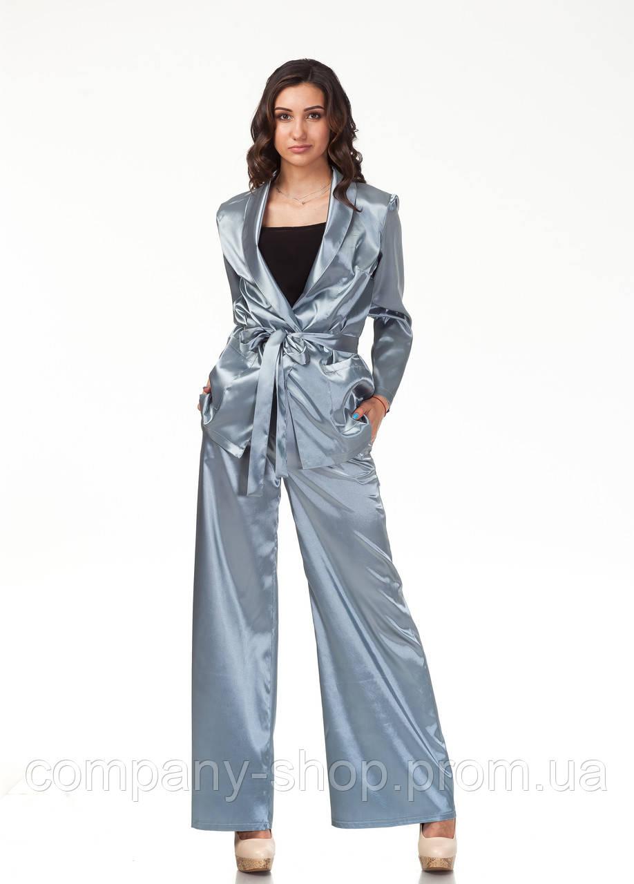 Пижамный шелковый костюм. Модель КС003_серый атлас